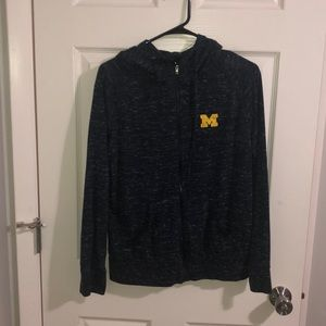 Blue U of M zip up hoodie
